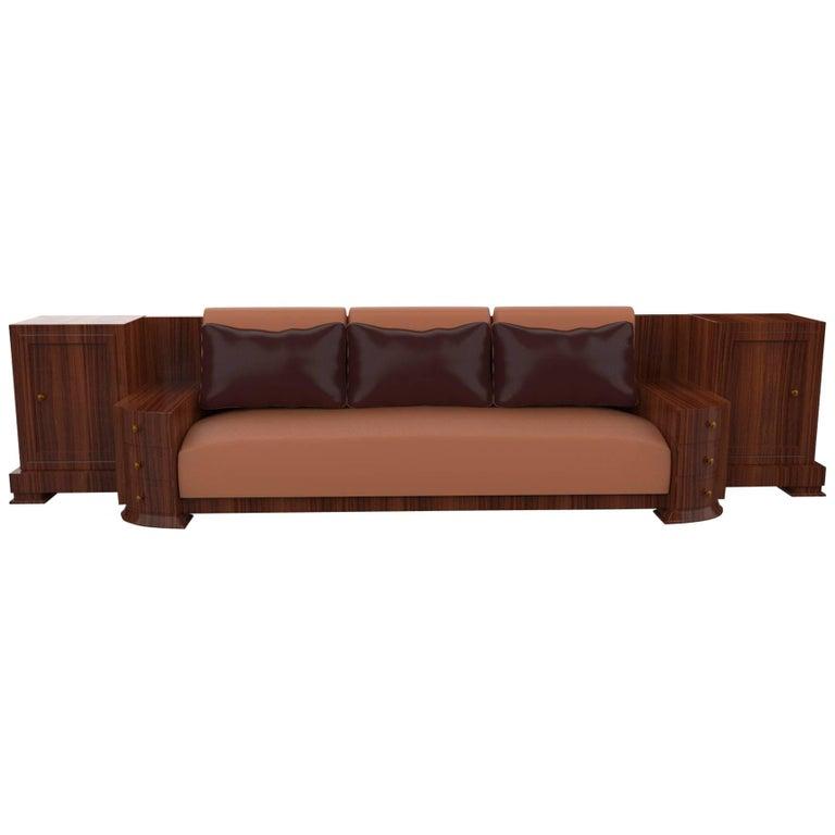 Large Walnut Art Deco Sofa