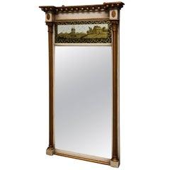 Early 19th Century Regency Églomisé, Gilt and Painted Pier Mirror
