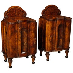 Pair of Italian Bedside Tables in Walnut and Burl Walnut Wood in Art Deco Style