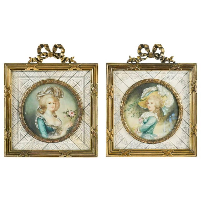 Pair of Miniatures with Gilt Bronze Frame 19th Century
