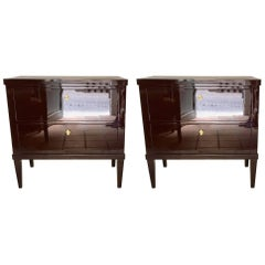Pair of Garnet Lacquered Bierdemeier Style Commodes or Nightstands