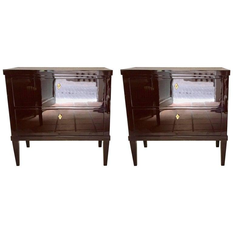Pair of Garnet Lacquered Bierdemeier Style Commodes or Nightstands