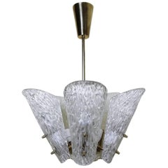 Austrian Brass and Textured Glass Chandelier by J.T. Kalmar for Kalmar, 1950s