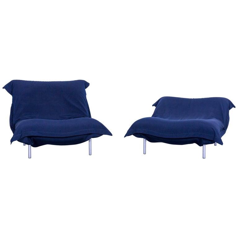 Ligne Roset Calin Designer Fabric Chair Set Blue One-Seat