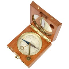 Compass Made of Oak Wood and Brass at the end of the 19th Century
