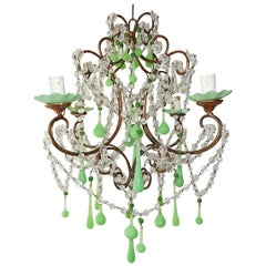 1920 French Green Opaline Bobeches, Beads and Drops Chandelier