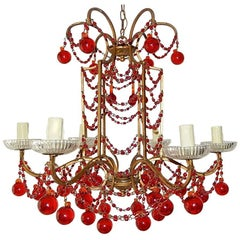 French Red Murano Ball and Chains Chandelier, circa 1940