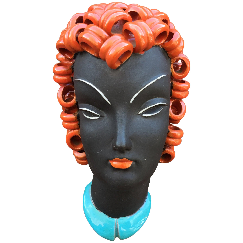 Goldscheider Inspired Czech Signed Ceramic Stylized Art Deco Head