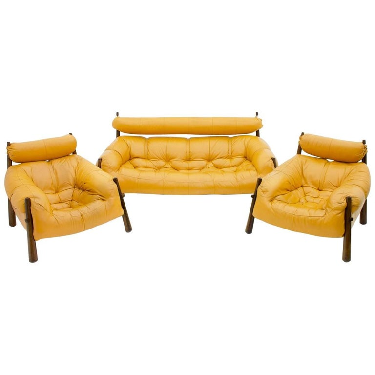 Percival Lafer Sofa and Two Lounge Chairs MP-81 Brazil 1972