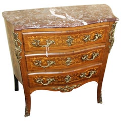 Small Late 19th Century Marble Topped Inlaid French Chest of Drawers