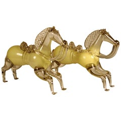 Pair of 19th Century Horses in Murano Glass
