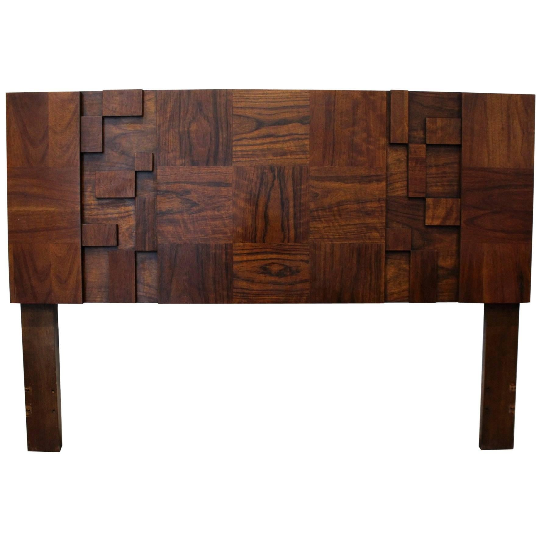 Etonnant 1970s Midcentury Brutalist Full Queen Headboard By Lane Furniture