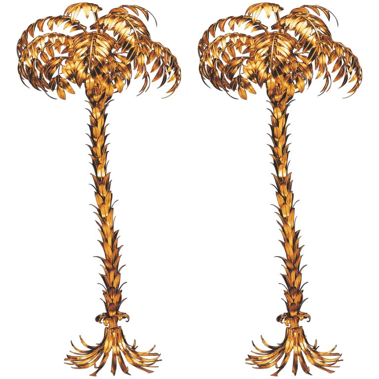 Pair of Huge Matched Hans Kögl Palm Tree Floor Lamps