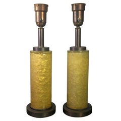 Pair of 1940s Fractured Resin Cylinder Lamps