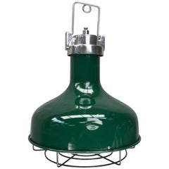 Late 20th Century American Green Nautical Industrial Aluminium Pendant Lamp