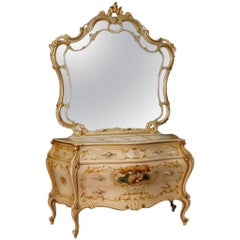 Venetian Dresser with Mirror in Lacquered, Painted, Giltwood from 20th Century
