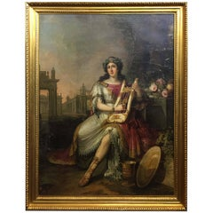 Lyre Player Against the Background of Roman Ruins by F. Ugeri. Rome, circa 1810