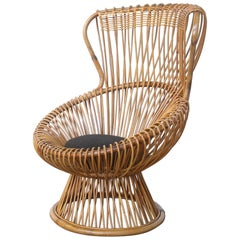Amazing Franco Albini for Bonacina Wicker Margherita Chair with Original Cushion