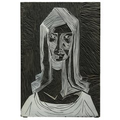 Mid-Century Modern Brutalist Linocut Portrait