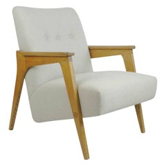Austrian Midcentury Light Beige Oak Lounge Chair by Oskar Riedel