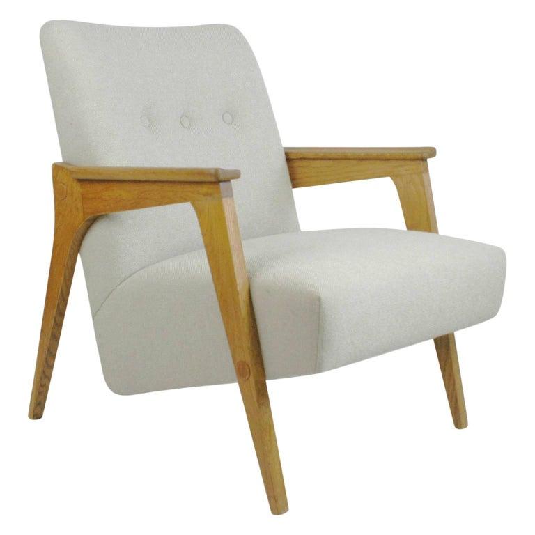 Austrian Midcentury Light Beige Oak Lounge Chair by Oskar Riedel