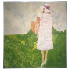 1970s Fashionable Woman in Field of Flowers Painting Signed