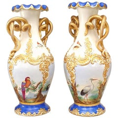 Pair of Austrian Vienna Porcelain Blue and White Vases