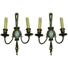Pair of Louis XVI Style Bronze Sconces with Wedgewood Style Cameos