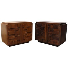 Pair of 1970s Mid-Century Modern Brutalist Mosaic Patchwork Nightstands by Lane