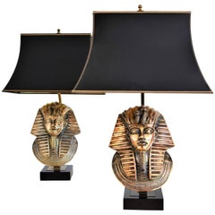 Pharaoh Table Lamps by Maison Jansen for Deknudt with Original Shades