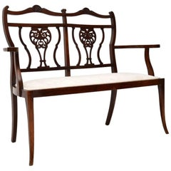 Antique Mahogany Two-Seat Settee