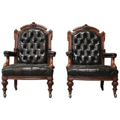 Pair of 19th Century English Library Armchairs in Leather