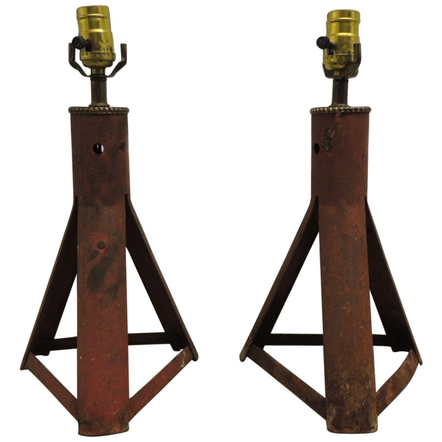 Pair of Red Industrial Tripop Vintage Table Lamps