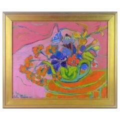 'Garden Flowers' Original Post Impressionist French Still Life by Stella Mertens
