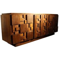 1970s Mid-Century Modern Brutalist Mosaic Patchwork Dresser by Lane