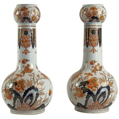 Dutch Late-18th Century, Polychrome Delft Faience Pair of Gourd-Shaped Vases