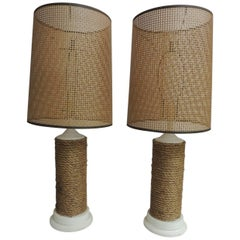 Pair of Vintage Large Nautical Wood Lamps with Rattan Woven Shades