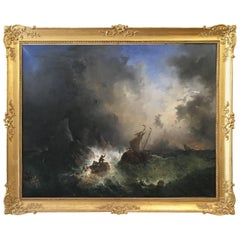 19th Century French Oil on Canvas Painting in Giltwood Frame Depicting Shipwreck