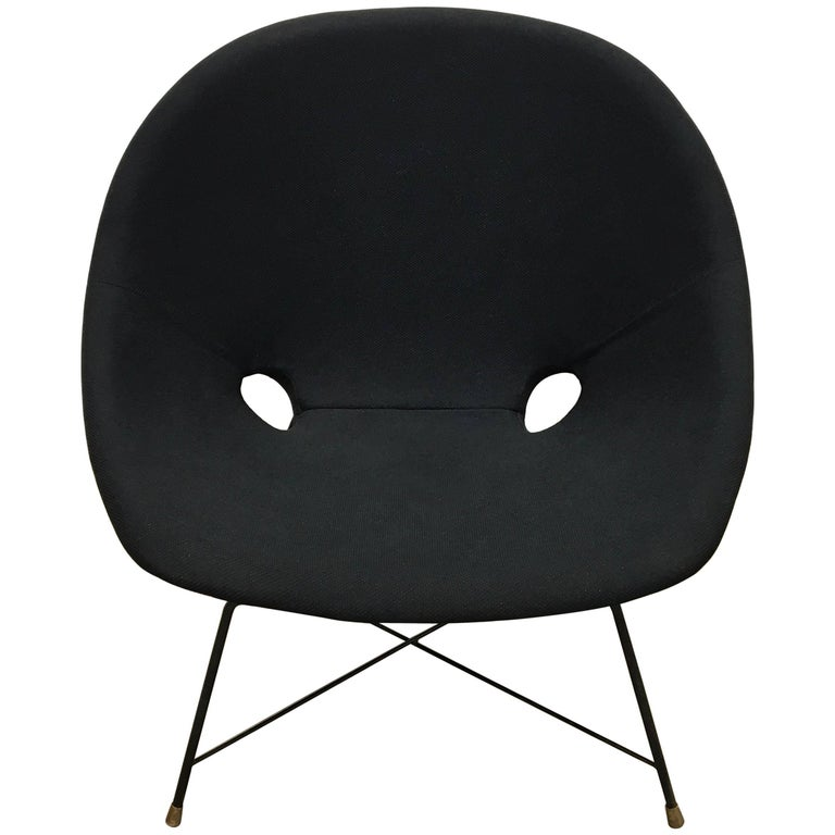Black Italian Cosmos Lounge Chair by Augusto Bozzi for Saporiti