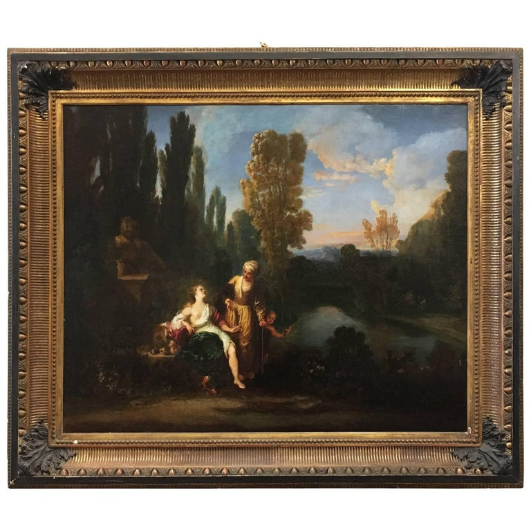 17th Century Oil on Canvas Painting with Landscape Attributed to Gaspard Dughet