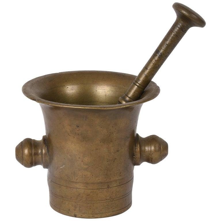 Antique Bronze Mortar, Handmade with Pestle, Original Patina