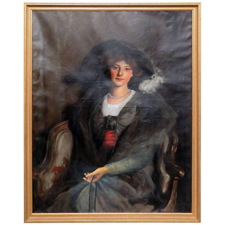 Antique Oil Painting of a Woman For Sale