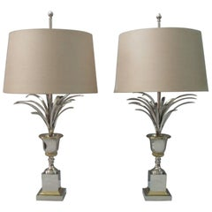 Pair of French Midcentury Maison Charles Vase Roseaux Table Lamps