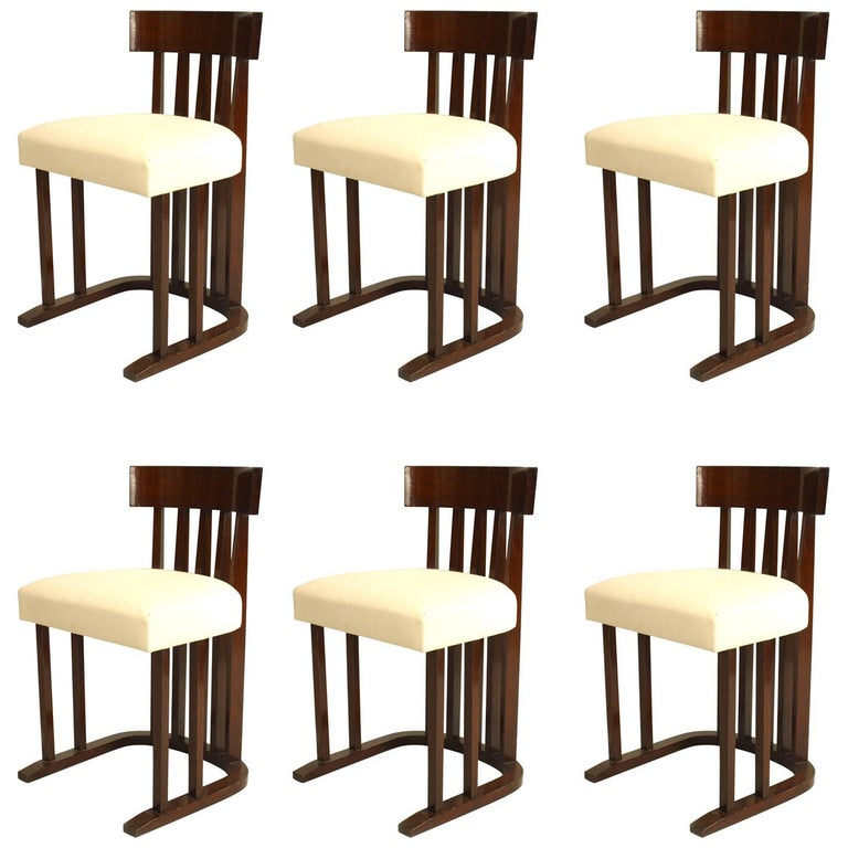 Set of Six Austrian Secessionist Style Side Chairs For Sale