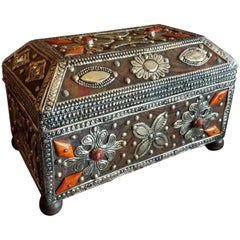 Moroccan Camel Bone and Leather Trunk, Small