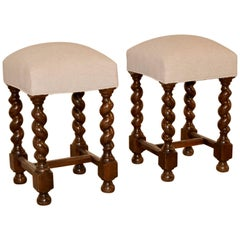 Pair of 19th Century Upholstered Stools