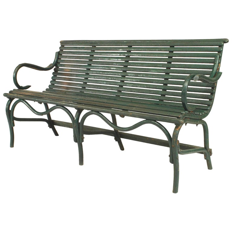 American Bentwood 19th-20th Century Weathered Green Painted Bench