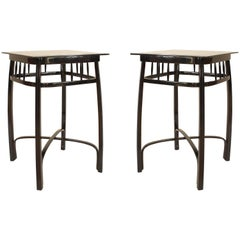 Pair of Bentwood Vienna Secession Ebonized Beech Wood Square End Tables, 1905
