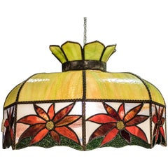 Art Nouveau Polychromed Leaded Glass French Lamp