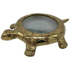 1980s Italian Brass Turtle Magnifying Glass Paperweight